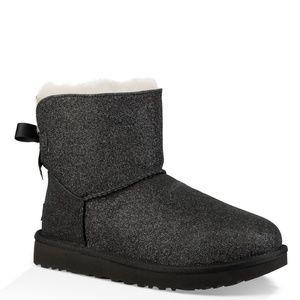 UGG Mini Bailey Bow Sparkle Black Boots S8